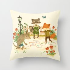 Hopscotch with Critters Throw Pillow