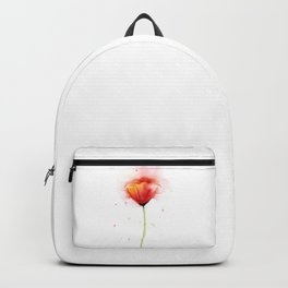 Red Poppy Flower Watercolor Abstract Poppies Floral Backpack