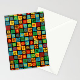 Colorful seamless background with ethnic symbols in squares Stationery Cards