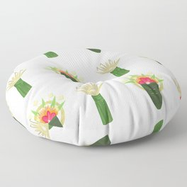Palm Leaf and Flower Offerings Floor Pillow