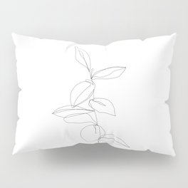 One line minimal plant leaves drawing - Berry Pillow Sham