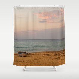 Sunset at the Beach in Greece Shower Curtain