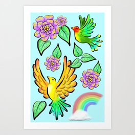 Birds Flowers and Rainbows Doodle Pattern Art Print