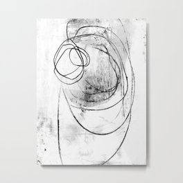 Black and White Textured Scribble Abstract Painting Metal Print