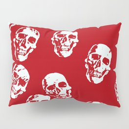 Hot Skulls, red white Pillow Sham