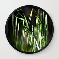 grass Wall Clocks featuring grass by  Agostino Lo Coco