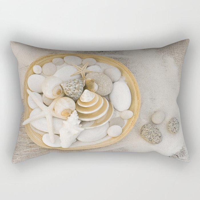 Sea Shell Collection Beach Summer Still Life Rectangular Pillow