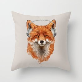 The Musical Fox Throw Pillow