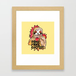 sloth drink more coffee Framed Art Print