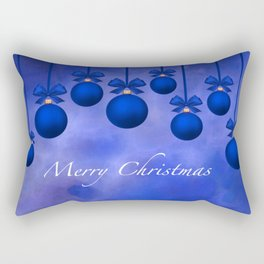 Merry Christmas Ornaments Bows and Ribbons – Blue Rectangular Pillow