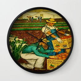 A gathering of an Orange Harvest Wall Clock