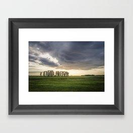 Sunset on Stonehenge Framed Art Print