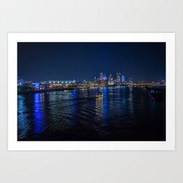 Pittsburgh Turns Blue Art Print