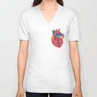 anatomical heart V-neck T-shirts featuring Anatomical Heart by KA Doodle