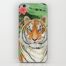 Tiger with flowers iPhone & iPod Skin