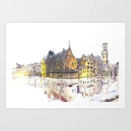 vintage Bruges Art Print