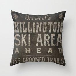 Killington Mountain Ski Area Sign Vermont Throw Pillow