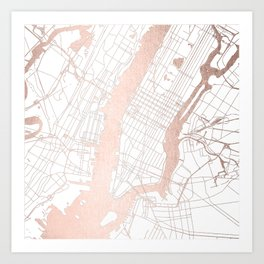 New York City White on Rosegold Street Map Art Print