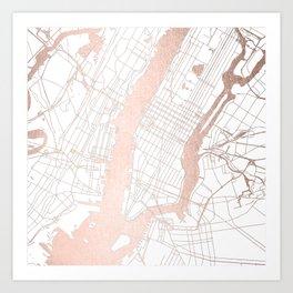 New York City White on Rosegold Street Map Art Print
