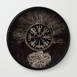 Vegvisir  and Tree of life  -Yggdrasil Wall Clock
