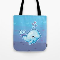 polkadot Tote Bags featuring PolkaDot Whale by Byte Size Treasure