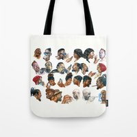 gossip girl Tote Bags featuring Gossip by Occasional Superstar
