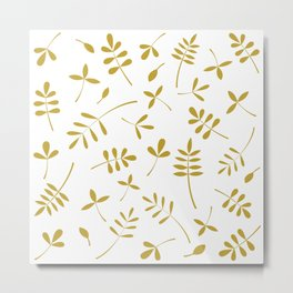 Gold Leaves Design on White Metal Print