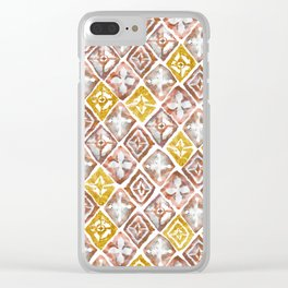 Red and Gold Tribal Tiles Clear iPhone Case