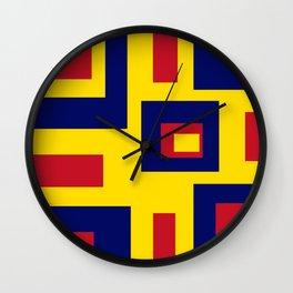 Geometric Pattern Abstract Art Yellow Red Purple Gift Idea Wall Clock