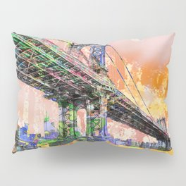 New York City Manhattan Bridge Gold Pillow Sham