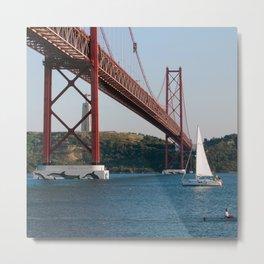 Lisbon Bridge 25 abril Metal Print