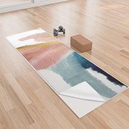 Exhale: a pretty, minimal, acrylic piece in pinks, blues, and gold Yoga Towel