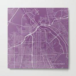 Shreveport Map, USA - Purple Metal Print