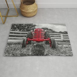 IH 300 Selective Red Crop Tractor Vintage Farming Equipment Antique Farm Machinery Rug
