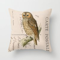 postcard Throw Pillows featuring Owl postcard by Vintage@Heart