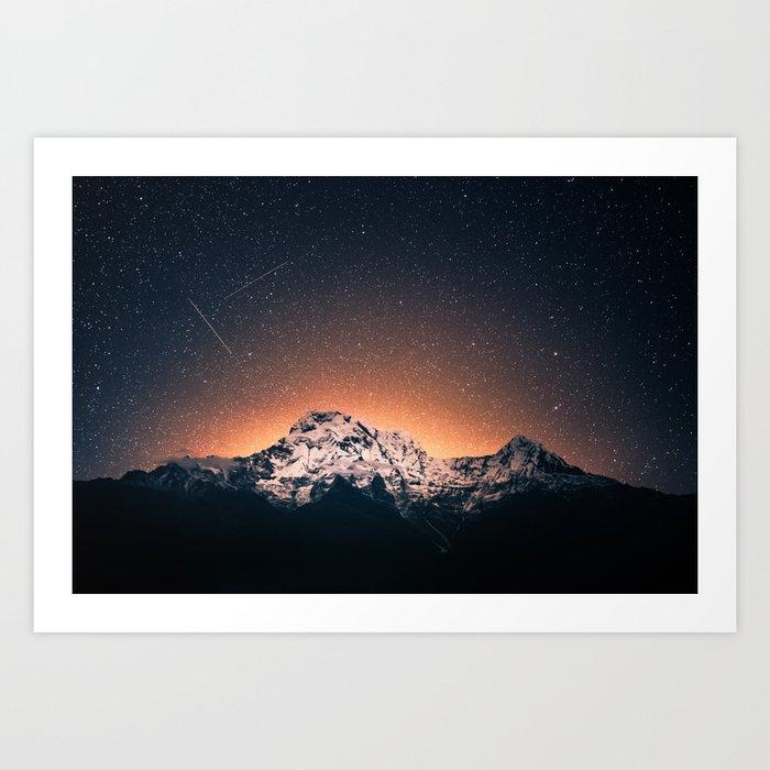 shooting stars over Nepal Art Print