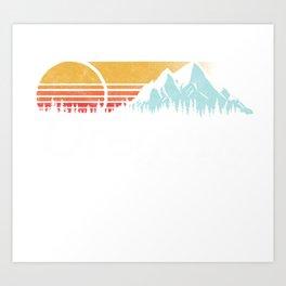 Retro Vibe Oregon Hoodie - Vintage Mountains & Sun Art Print