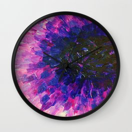 VACANCY - LIMITLESS Bold Eggplant Plum Purple Abstract Acrylic Painting Floral Macro Colorful Void Wall Clock