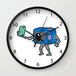 robot camera making selfie Wall Clock
