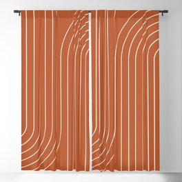 Minimal Line Curvature - Coral Red Blackout Curtain