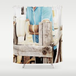 The artisan and the lathe Shower Curtain