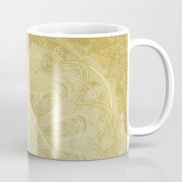 Embroidered dragonflies on gold mandala Coffee Mug