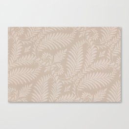 Fancy Light Tan Fern Leaves Scroll Damask on Taupe Canvas Print