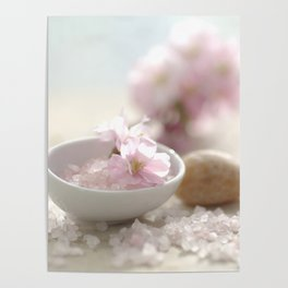 Still life for Bathroom with almond blossoms Poster
