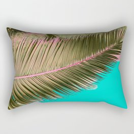 Minimal poster. leaf of palm tree in pastel colors (blue and pink) Rectangular Pillow