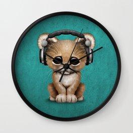 Cute Lion Cub Dj Wearing Headphones on Blue Wall Clock