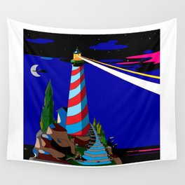 A Night at the Lighthouse with Search Light Active Wall Tapestry