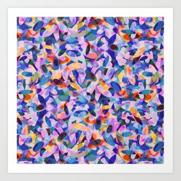 Multicolour Watercolor Spring Abstract, Ocean Blue on Orange, Lavender, Pink Oval Circle Geo Pattern Art Print