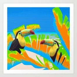 Colorful Toucans Tropical Banana Leaves Pattern Art Print