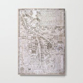 Vintage Map of Cambridge England (1574) Metal Print
